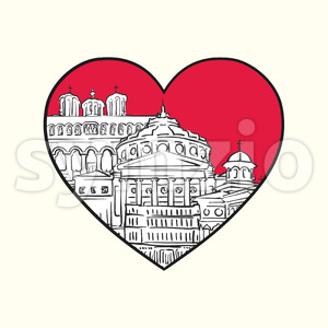 I love Bucharest. Red heart and famous buildings Stock Vector