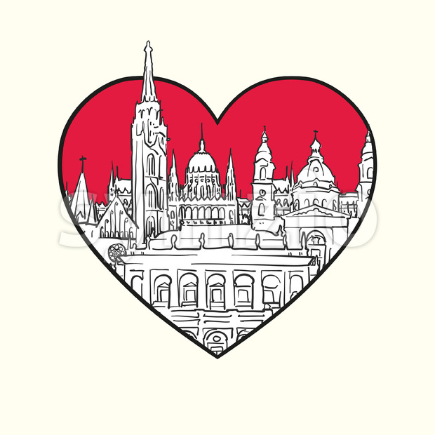 I love Budapest. Red heart and famous buildings Stock Vector
