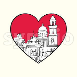 I love Chisinau. Red heart and famous buildings Stock Vector