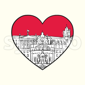 I love Dublin. Red heart and famous buildings Stock Vector