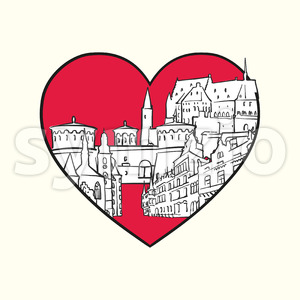 I love Luxembourg City. Red heart and famous buildings Stock Vector