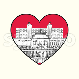 I love Madrid. Red heart and famous buildings Stock Vector