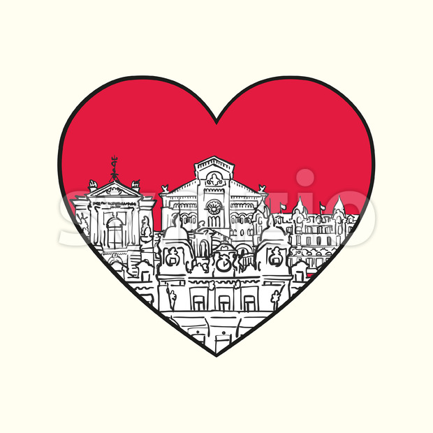 I love Monaco. Red heart and famous buildings Stock Vector