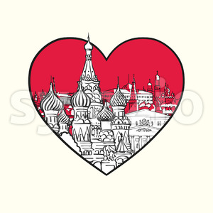 I love Moscow. Red heart and famous buildings Stock Vector