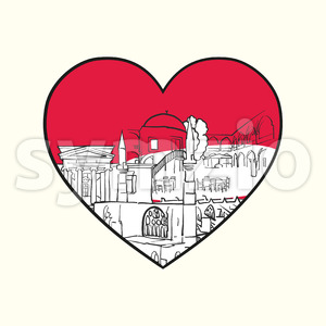I love Nicosia. Red heart and famous buildings Stock Vector