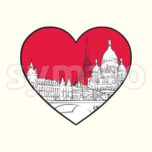 I love Paris. Red heart and famous buildings Stock Vector