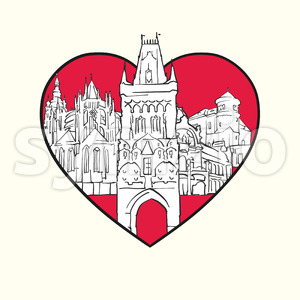 I love Prague. Red heart and famous buildings Stock Vector