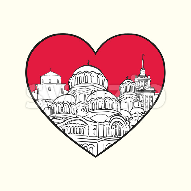 I love Sofia. Red heart and famous buildings Stock Vector