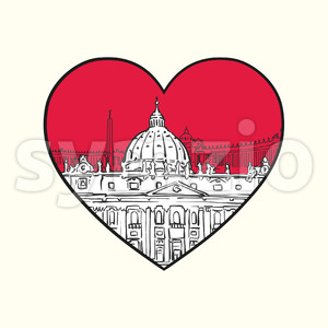 I love Vatican. Red heart and famous buildings Stock Vector