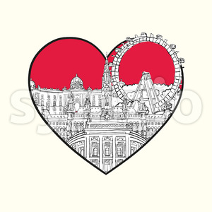 I love Vienna. Red heart and famous buildings Stock Vector