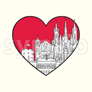 I love Vilnius. Red heart and famous buildings Stock Vector