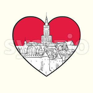 I love Warsaw. Red heart and famous buildings Stock Vector