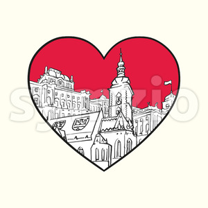 I love Zagreb. Red heart and famous buildings Stock Vector