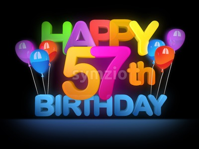 Happy 57th Birthday Title, dark Stock Photo