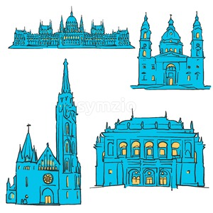 Budapest Hungary Colored Landmarks Stock Vector