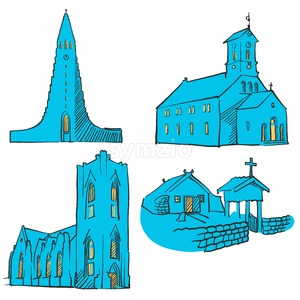 Reykjavik Iceland Colored Landmarks Stock Vector