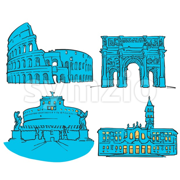 Rome Italy Colored Landmarks Stock Vector