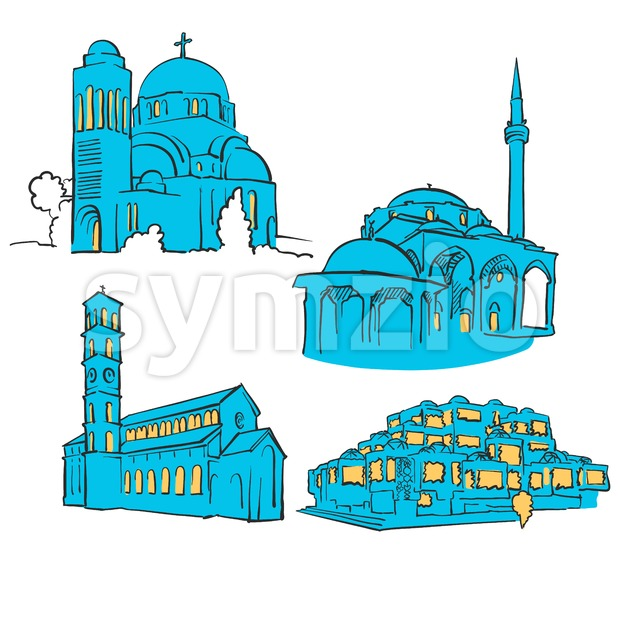 Pristina	Kosovo Colored Landmarks Stock Vector