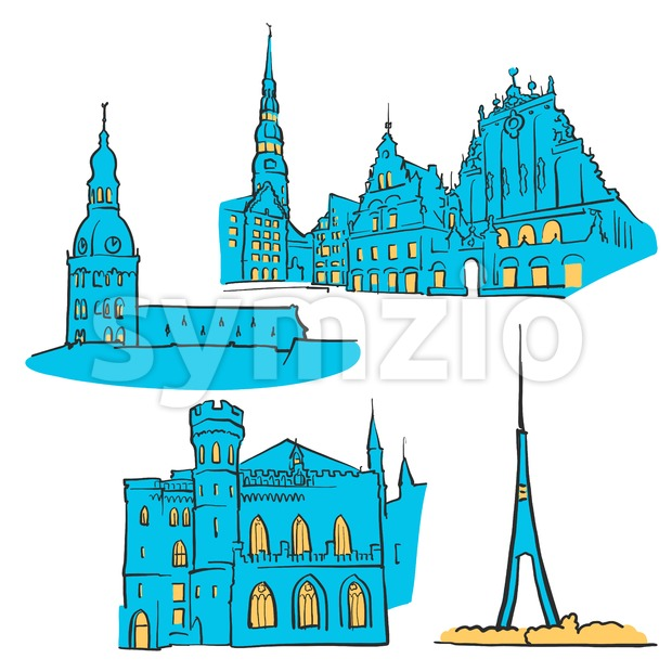 Riga Latvia Colored Landmarks Stock Vector