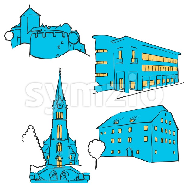 Vaduz Liechtenstein Colored Landmarks Stock Vector