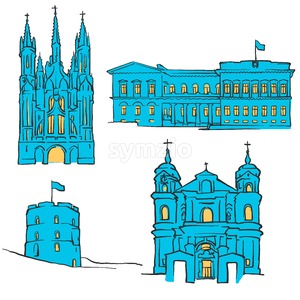 Vilnius Lithuania Colored Landmarks Stock Vector