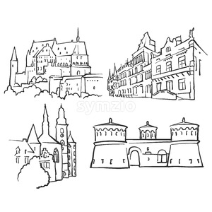 Luxembourg Luxembourg Famous Buildings Stock Vector