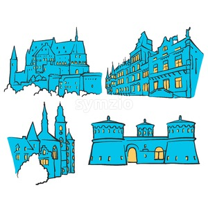 Luxembourg Luxembourg Colored Landmarks Stock Vector