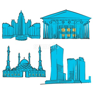 Astana Kazakhstan Colored Landmarks Stock Vector