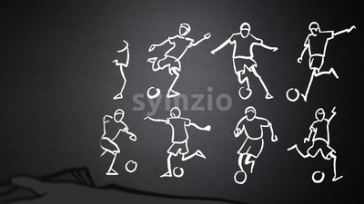 Soccer Player Animated Drawing on Chalkboard Stock Video