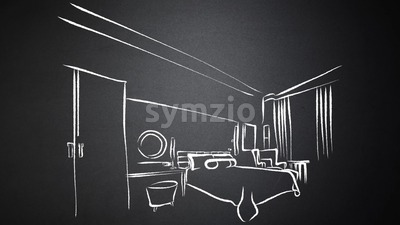 Modern Hotel Room Kig Size Bed Animated Drawing on Chalkboard Stock Video