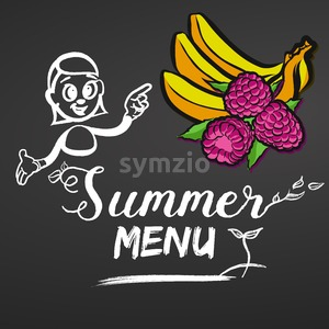 Summer Menu Raspberries and Bananas Stock Vector