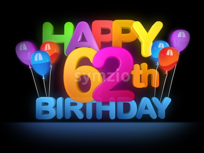 Happy 62nd Birthday Title, dark Stock Photo