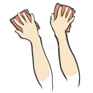 Hands and Rags isolated Sketch Stock Vector