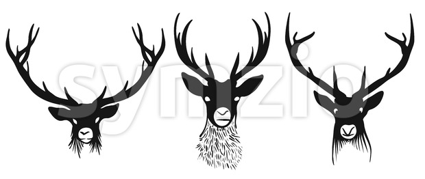 Three deers heads silhouettes Stock Vector