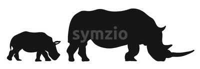 Two Rhinoceroses Silhouettes Stock Vector
