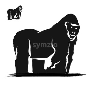 Strong Gorilla Silhouette Stock Vector