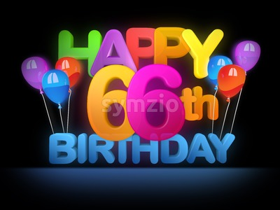 Happy 66th Birthday Title, dark Stock Photo