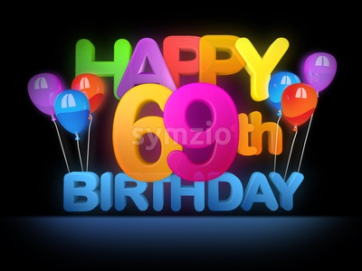 Happy 69th Birthday Title, dark Stock Photo