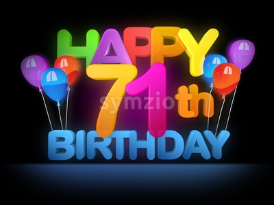 Happy 71st Birthday Title, dark Stock Photo