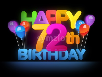 Happy 72nd Birthday Title, dark Stock Photo
