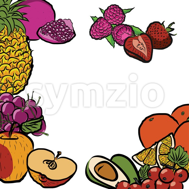 Fresh Summer Fruits in Circle Stock Vector
