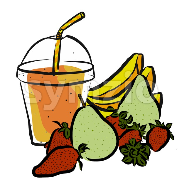 Pear Strawberrie Banana Smoothie Stock Vector