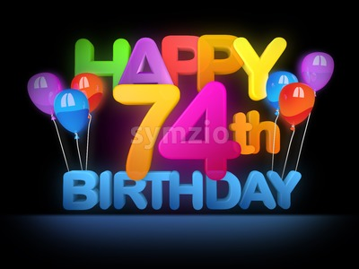 Happy 74th Birthday Title, dark Stock Photo