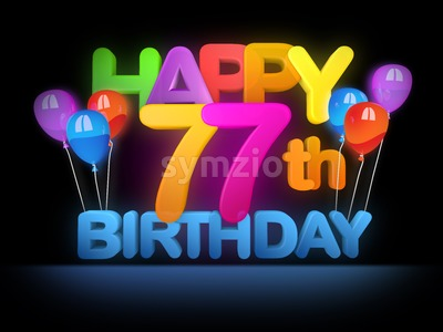 Happy 77th Birthday Title, dark Stock Photo