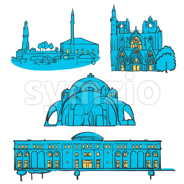 Skopje, Macedonia, Colored Landmarks Stock Vector