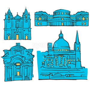 Valletta, Malta, Colored Landmarks Stock Vector