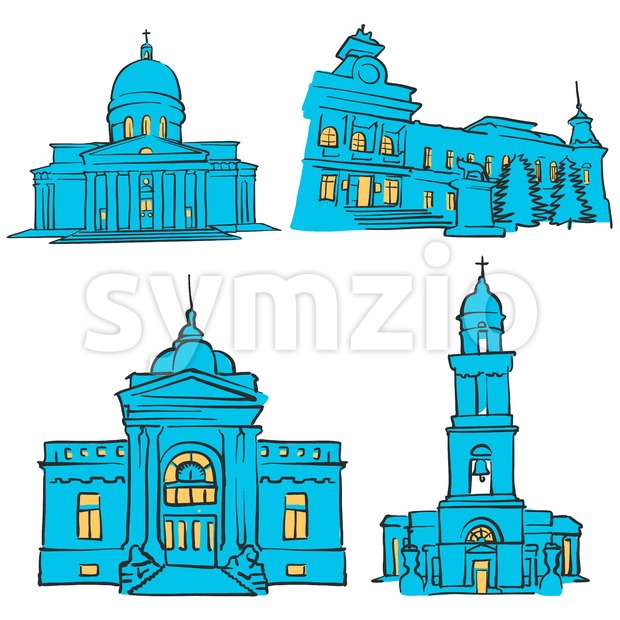Chisinau, Moldova, Colored Landmarks Stock Vector
