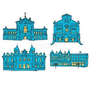 Monaco, Colored Landmarks Stock Vector