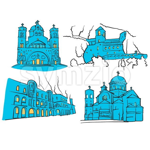 Podgorica, Montenegro, Colored Landmarks Stock Vector