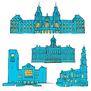 Amsterdam, Netherlands, Colored Landmarks Stock Vector